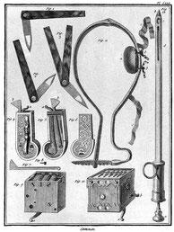 Werkzeuge für den Aderlass, eine Methode zur Reinigung des Körpers