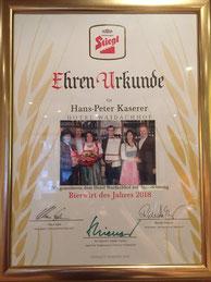 """Urkunde Auszeichnung """"Bierwirt des Jahres"""" 2018 für Hotel Waidachhof"""