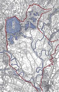 図(画像):明治40年の渡良瀬遊水地あたりを示す地形図
