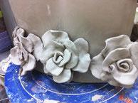 .roses en argile