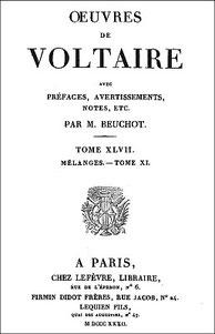 Voltaire (1694-1778) : Fragment sur l'histoire générale. Chine. —  Firmin Didot frères, Paris, 1832, tome 47 des œuvres de Voltaire, pages 518-531. Première édition 1773.
