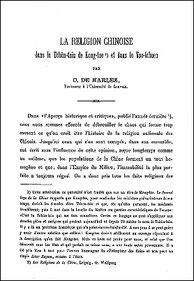 Charles DE HARLEZ (1832-1899) : La religion chinoise dans le Tchün-tsiu de Kong-tze et dans le Tso-tchuen. T'oung pao, volume III, 1892, pages 211-237.