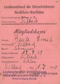 Mitgliedskarte LV Ostvertriebene NRW