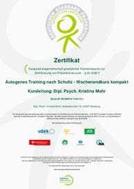 Prävention Zertifikat Autogenes Training Mohr Trainings