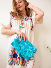 Mexikanische Tunika lang, Mexikanische Mode, Mexikanische Kleider, Sommerkleid aus Mexiko, boho mexikanisches Kleid lang, mexikanische Bluse, Beach Kleid aus Mexiko, besticktes Kleid lang, buntes Sommerkleid, Tunika mit Stickerei