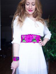 Ethno Mode, Damengürtel, Gürtel Baumwolle bestickt, Gürtel mit Blumen, bunte Gürtel zum Jeans, Mexikanische Mode Acessoires