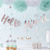Baby Shower, Hello World, Mint und Roségold, Partyzubehör, Geburtstagsparty
