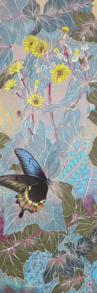宝居智子「野花に烏揚羽」 絹・岩絵具 36x12cm