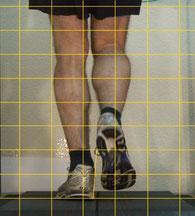 der Kunde läuft hier auf dem Laufband mit seinem alten Joggingschuh, man sieht deutlich die fehlende Dämpfung