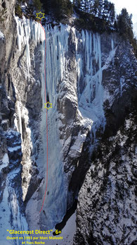 Cascade de glace Glacenost topo Glacenost direct ligne de gauche Haute-Maurienne Guide de Haute Montagne