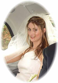 Ruth in Kensington, sitting in her White Wedding Taxi