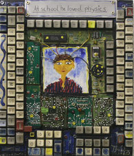 "Thitz ""At shool he loved..."" Acryl auf Computerteil"