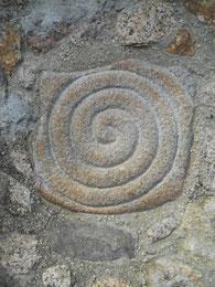 Escultura en piedra, celta, castrexo, espiral. Monte Santa Trega, A Guarda, Pontevedra, Galicia