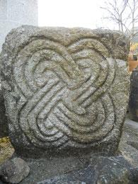 Escultura en piedra, celta, castrexo, típica del miño, nudo de salomón. Monte Santa Trega, A Guarda, Pontevedra, Galicia