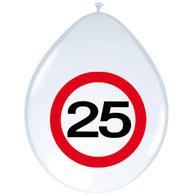 Ballonnen verkeersbord 25 8 stuks € 2,50