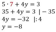 Berechnung der zweiten Variable beim Lösen eines Gleichungssystems
