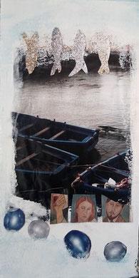 collage et peinture sur carton