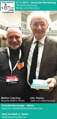 """27.11.2019 - Berlin, Deutscher Bundestag - Öffentliche Anhörung """"Medien unter Beschuss - Feldzug gegen Wikileaks und investigativen Journalisten"""""""