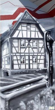 Fachwerkhaus Eschborn Bahnhof Süd - Übersicht Kunst am Bau - Jan-Malte Strijek