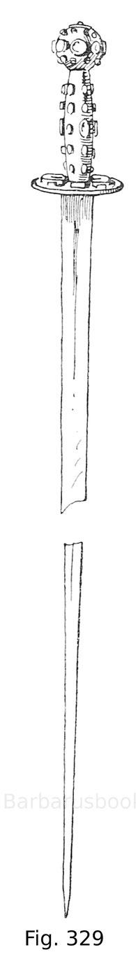 Fig. 329. Orientalischer Panzerstecher mit Fassung aus vergoldetem Messing und mit Nephrit Steinen besetzt. Kais. Waffensammlung zu Zarskoë-Selo.
