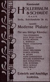 Moderne Plakate. Hollerbaum & Schmidt- für uns thätige Künstler 1900 Inserat.