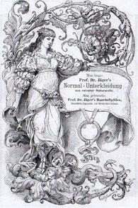 Historismus-Werbung. Man trage Prof. Dr. Jägers Normal-Unterkleidung vor 1897 Inserat? In Buch