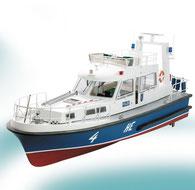 Baukasten eines deutschen RC Polizeibootes