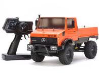 Orangener Mercedes Unimog als RTR Modell von Tamiya     im Maßstab 1:10