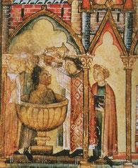 Baptème d'un Noir ; manuscrit espagnol, v. 1260-1280.