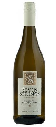 Unoaked Chardonnay 2014  Der Seven Springs Unoaked Chardonnay leuchtet goldgelb im Glas. Die Nase duftet nach Pampelmuse, Papaya, Guave, Brioche feinen Butter und Röstaromen mit einem Hauch Vanille. Am Gaumen zeigt der Seven Springs Unoaked Chardonnay ein
