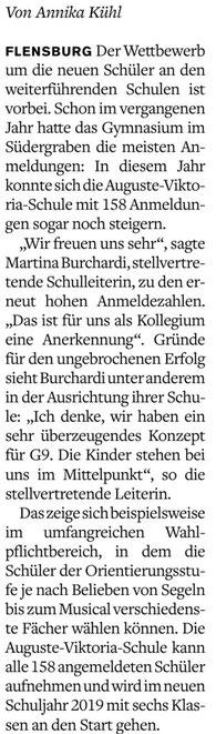 Anmeldezahlen Schulen Flensburg 2019