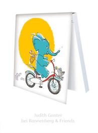 KLEBEZETTEL MIT ELEFANT & MAUS - Fahrrad fahren - Illustration Judith Ganter - Verlag Rannenberg & Friends - Geschenke kaufen, Mitbringsel Kollegen