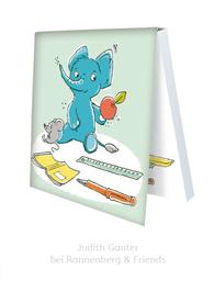 KLEBEZETTEL MIT ELEFANT & MAUS - Schulzeug, Pause, Apfel - Illustration Judith Ganter - Verlag Rannenberg & Friends - Geschenke kaufen, Mitbringsel Kollegen
