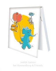 KLEBEZETTEL MIT ELEFANT & MAUS - Schulranzen, Ballons - Illustration Judith Ganter - Verlag Rannenberg & Friends - Geschenke kaufen, Mitbringsel Kollegen
