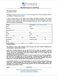 Anmeldebogen zur Aktualisierung der Patientendaten
