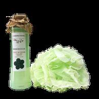 confezione regalo bagnodoccia bio all'olio di oliva e spugna rete vintage