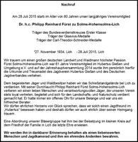 Nachruf Dr. h.c. Philipp Reinhard Fürst zu Solms-Hohensolms-Lich
