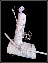 """Materialmontage """"boat-poeple"""" Werkverzeichnis 897 / aus 1996 / Ein Werk gegen die Gleichgültigkeit, gegen die Unmenschlichkeit, die täglich den Bootsflüchtlingen wiederfährt; ein Bild für das Recht für jedermann auf Asyl."""
