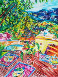 Le doux chant des cigales, pastel gras et encre, Claire ALLARD, nature morte, bouquet