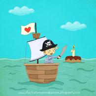 Illustration d'un jeune pirate réalisée par l'illustratrice Anne Derenne