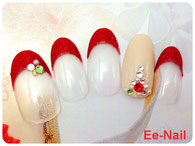 赤フレンチ☆クリスマスネイル