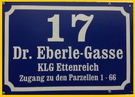 Adresse des KGV Ettenreich, Anningerweg 5, alternativ Dr. Eberle-Gasse 17, 1100 Wien