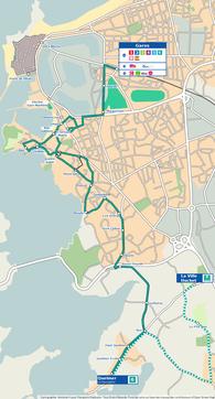 Carte représentant le parcours des lignes 6 et 6 été du réseau Keolis Saint-Malo Agglomération (KSMA).