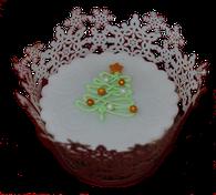 Fondant-Cupcake mit Tannenbaum