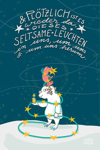 Yeti & Hirsch mit Lichterkette bei Redbubble – Illustration Judith Ganter - Illustriertes Kopfkino für Alltagsoptimisten