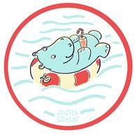 NILPFERD im Schwimmreif bei Redbubble – Illustration und Text Judith Ganter - Illustriertes Kopfkino für Alltagsoptimisten