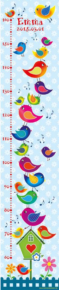 mit Namen und Geburtsdatum personalisierbare Kindermesslatte mit lustigen bunten Vögeln mit Vogelhäuschen und Blumen -  auf Posterpapier gedruckt oder als Wandaufkleber