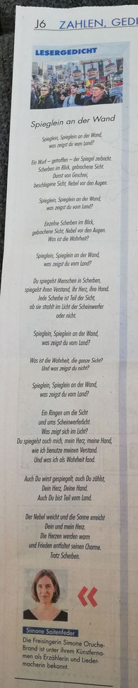 Lesergedicht im Münchner Merkur