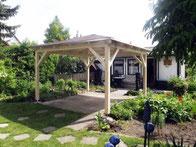 Pavillon mit Dachschindeln (rot beschiefert)