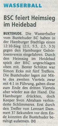 Buxtehuder Tageblatt vom 7. Juli 2015. Wasserball BSC feiert Heimsieg im Heidebad